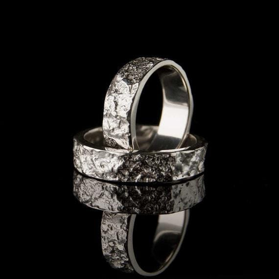 Bush-hammered Marble Texture Wedding Bands, Set of 2 Rings