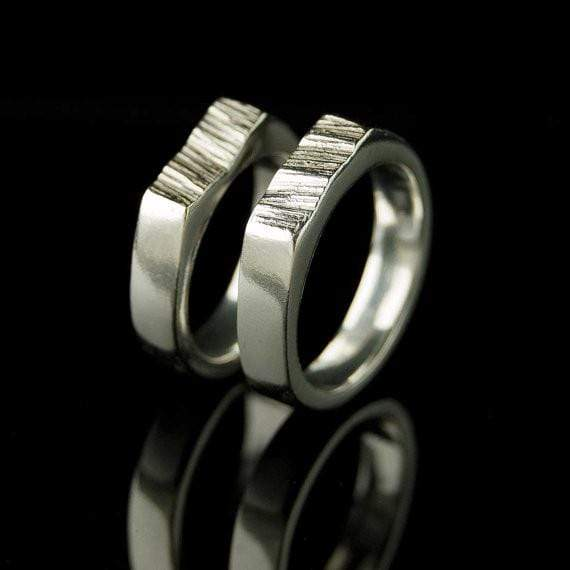 Matching Saw Cut Wedding Rings, Set of 2 Wedding Bands