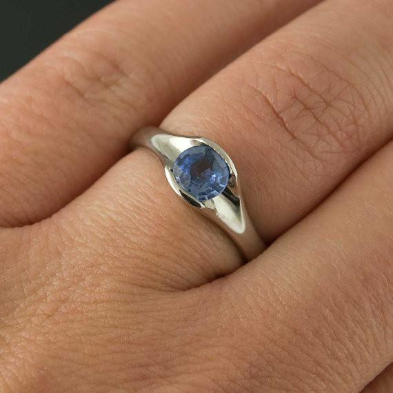 Round Blue Sapphire Fold Solitaire Engagement Ring - by Nodeform
