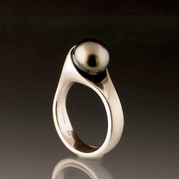 Wrapped Tahitian Button Pearl Modern Ring - by Nodeform