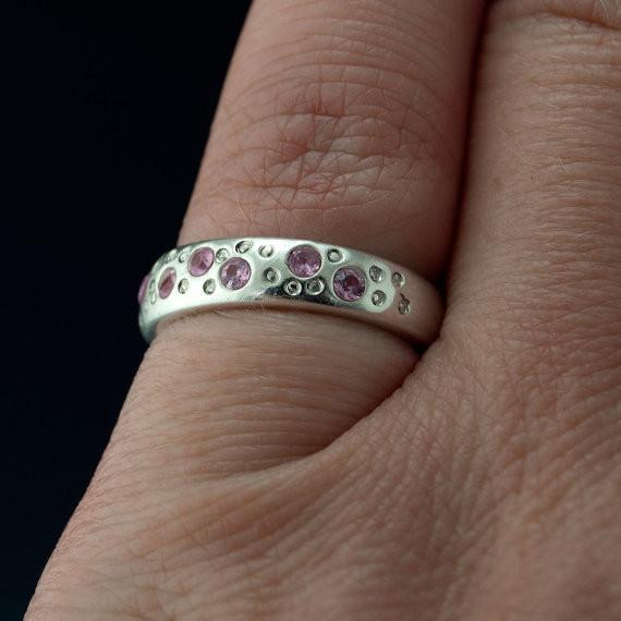 Pink Sapphire Star Dust Wedding Ring - by Nodeform