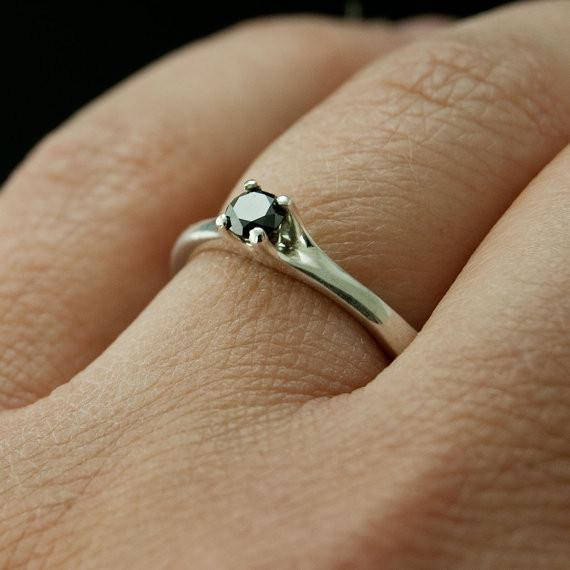 Black Diamond Prong Set Solitaire Engagement Ring