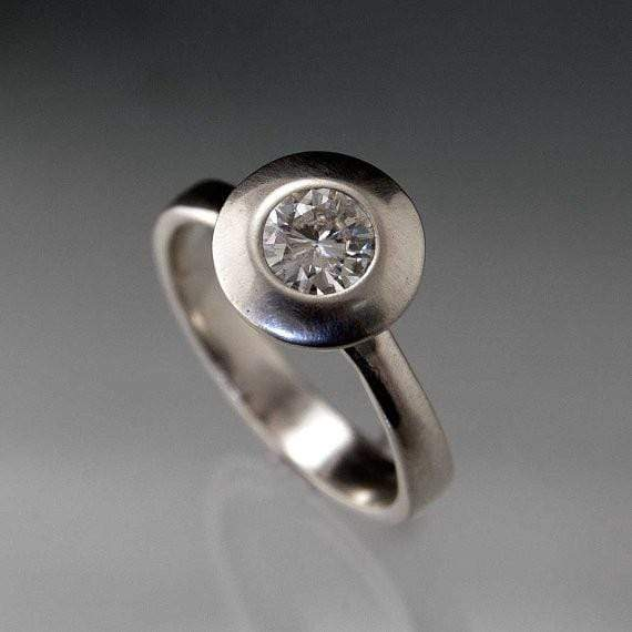 Round Moissanite UFO Halo Bezel Solitaire Engagement Ring - by Nodeform