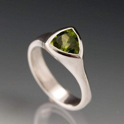 Trillion Peridot Bezel Solitaire Statement Ring