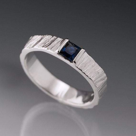 Princess Square Blue Sapphire Saw Cut Textured Modern Wedding or Engagement Ring