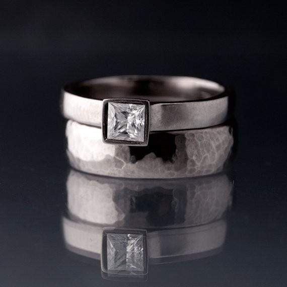 Princess Cut Moissanite Bezel Solitaire Engagement Ring - by Nodeform