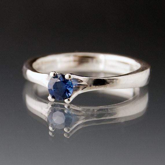 Blue Sapphire Classic Prong Solitaire Engagement Ring