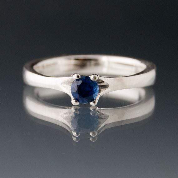 Blue Sapphire Classic Prong Solitaire Engagement Ring - by Nodeform