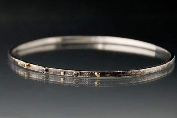 Blue Sapphire Bracelet Textured Sterling Silver Bangle 18k Gold Accents - by Nodeform