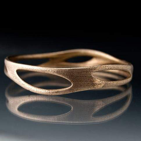 Stainless Steel Bracelet Bangle 3D Printed Morphed Design, Ready to Ship Medium Size - by Nodeform