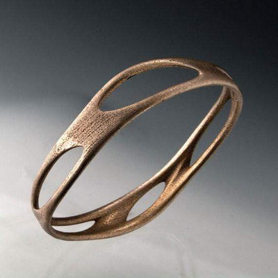 Stainless Steel Bracelet Bangle 3D Printed Morphed Design - by Nodeform