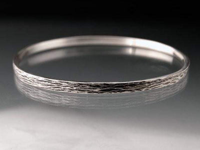 Wood Grain Textured Bracelet Sterling Silver Bangle - by Nodeform