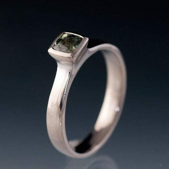 Green Cushion Sapphire Solitaire Bezel Engagement Ring - by Nodeform