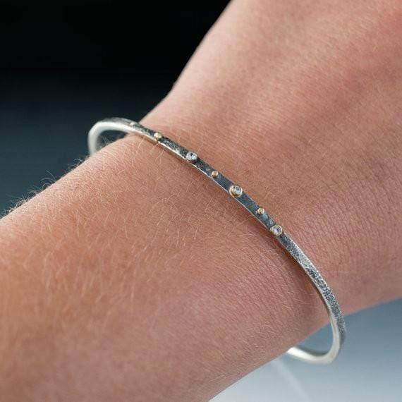 White Sapphire Bracelet Textured Sterling Silver Bangle 18k Gold Accents