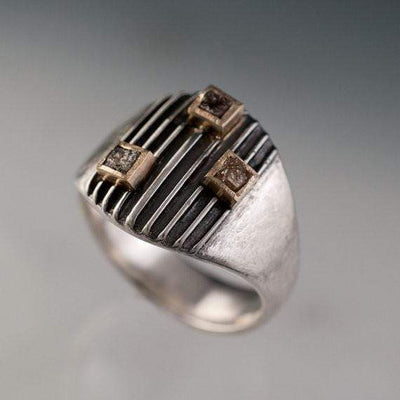 Striped Armor Rough Diamond Ring, 14kY & Sterling Silver Cocktail Ring, size 6 to 9