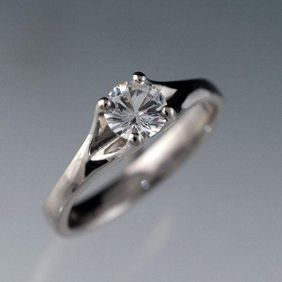 White Sapphire Classic Prong Solitaire Engagement Ring - by Nodeform