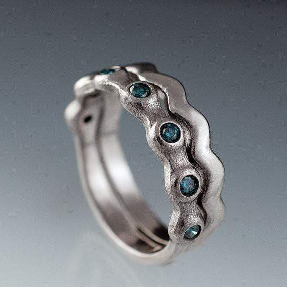Teal Blue Diamond Half Eternity Bridal Set Wedding Rings - by Nodeform