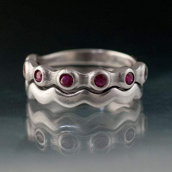 Ruby Half Eternity Bridal Set Wedding Rings - by Nodeform