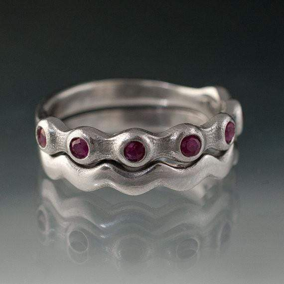 Ruby Half Eternity Bridal Set Wedding Rings