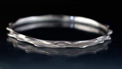 Bumpy Sterling Silver Bracelet Bangle 3D Printed and Cast Silver Bangle - by Nodeform