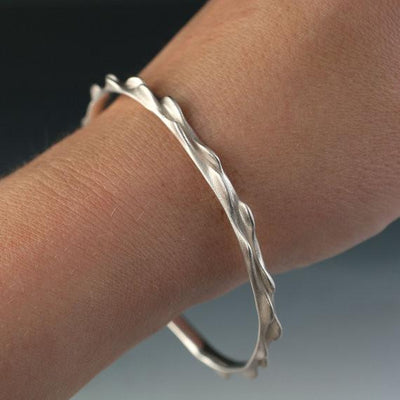 Bumpy Bracelet Bangle 3D Printed and Cast Oxidized Sterling Silver Bangle, Ready to Ship - by Nodeform