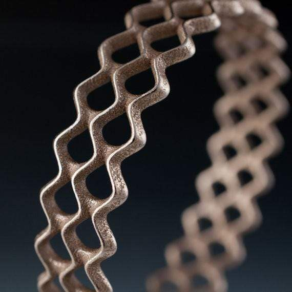Lattice Bracelet Stainless Steel Bangle 3D Printed Woven Design - by Nodeform