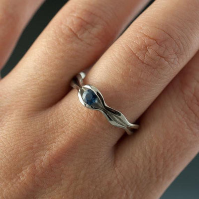 Wave Blue Sapphire Solitaire Engagement Ring