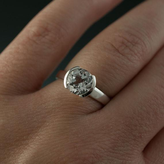 Lab Created Round White Sapphire Half Bezel Solitaire Engagement Ring - by Nodeform