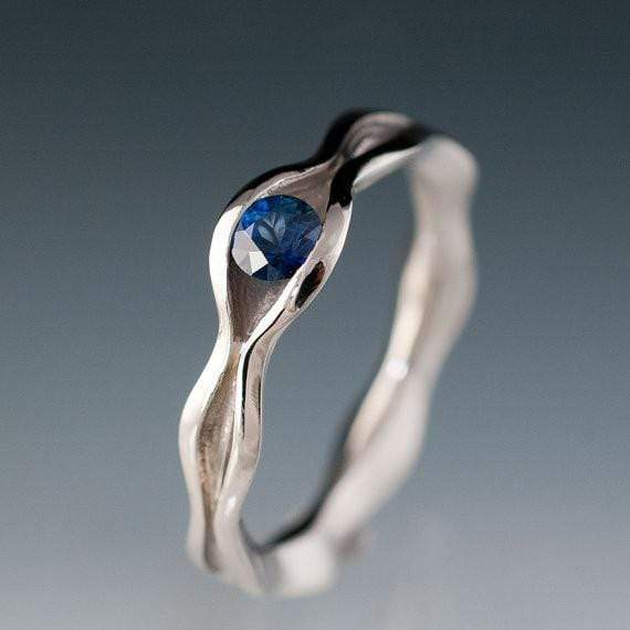 Wave Blue Sapphire Engagement Ring