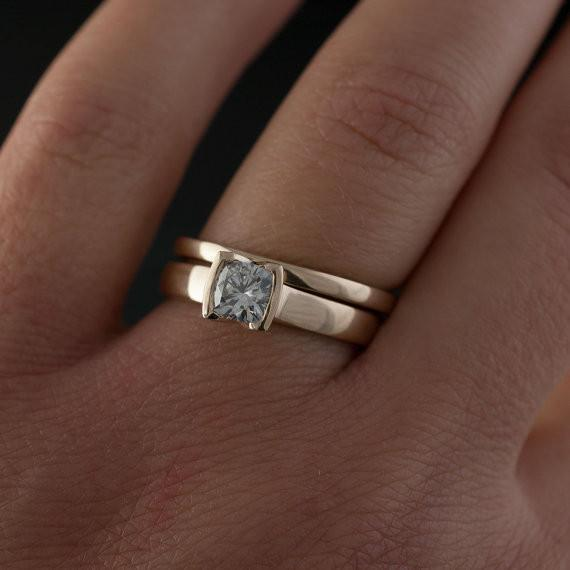 Cushion Moissanite Ring Bridal Set, Solitaire Ring & Gold Wedding Band - by Nodeform