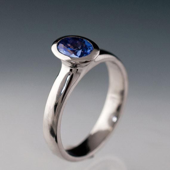 Chatham Lab Created Oval Blue Sapphire Bezel Solitaire Engagement Ring - by Nodeform