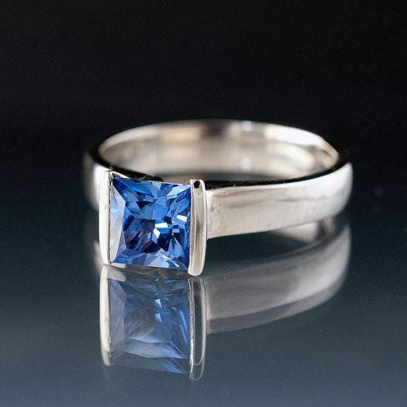 Lab Created Princess Cut Blue Sapphire Modified Tension Engagement Ring - by Nodeform