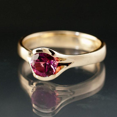 Pink Tourmaline Fold Solitaire Engagement Ring - by Nodeform