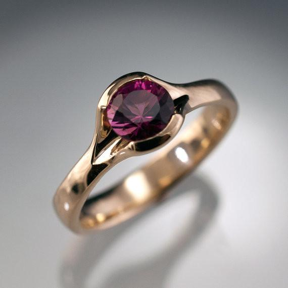 Pink Tourmaline Fold Solitaire Statement Ring