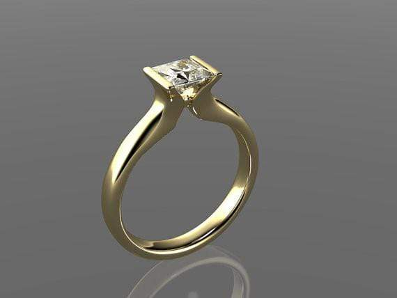 Princess Cut Moissanite Modified Tension Solitaire Engagement Ring