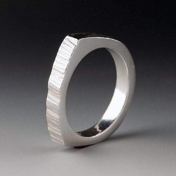Narrow Top Saw Cut Texture Wedding Band - by Nodeform
