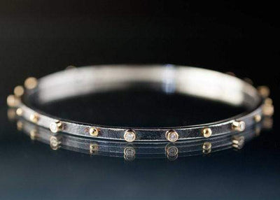 Diamond Bracelet Textured Sterling Silver Bangle 18k Gold Accents - by Nodeform