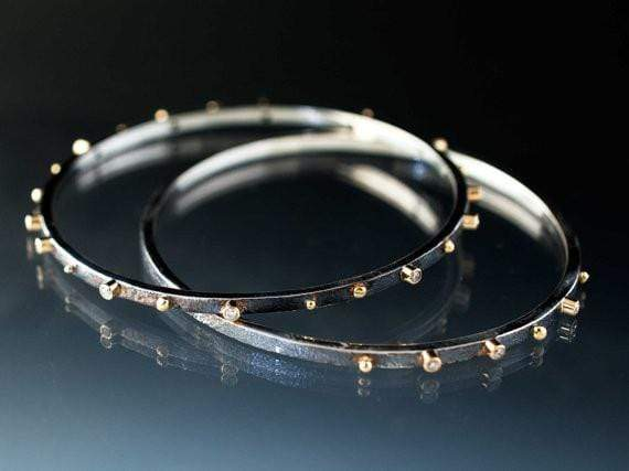 Diamond Bracelet Textured Sterling Silver Bangle 18k Gold Accents