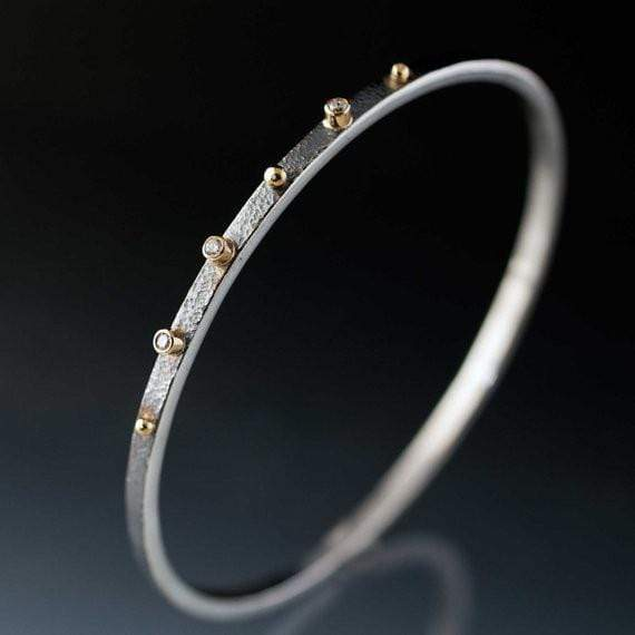 Textured Diamond Bracelet Sterling Silver Bangle 18k Gold Accents