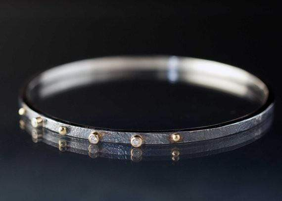 Textured Diamond Bracelet Sterling Silver Bangle 18k Gold Accents - by Nodeform