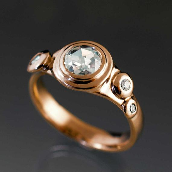 Rose Cut Round Rosette Moissanite Buds Rose Gold Engagement Ring