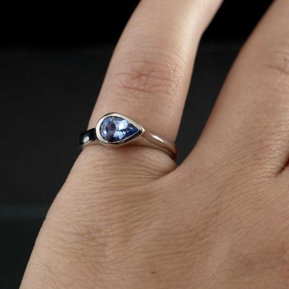 Pear Tanzanite Bezel Tear Drop Solitaire Engagement Ring - by Nodeform