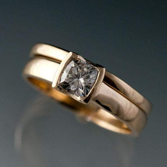 Cushion Moissanite Ring Bridal Set, Solitaire Engagement Ring & Gold Wedding Band