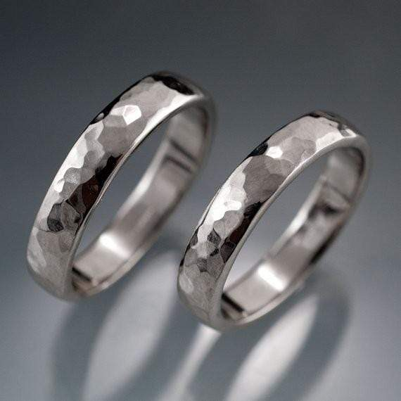 Narrow Hammered Texture Wedding Bands, Set of 2 Rings - by Nodeform