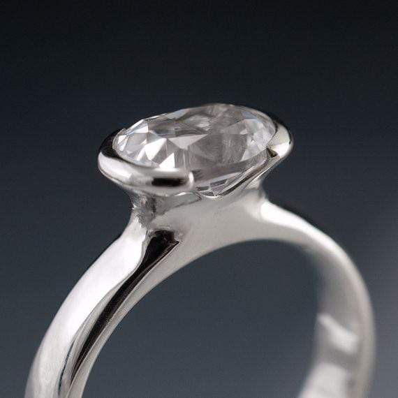 Lab Created Oval White Sapphire Half Bezel Solitaire Engagement Ring - by Nodeform