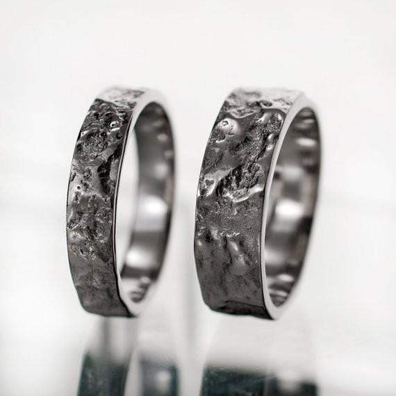 Bush-hammered Marble Texture Wedding Bands, Set of 2 Rings - by Nodeform