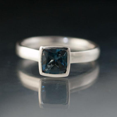 Cushion London Blue Topaz Bezel Set Statement Ring - by Nodeform