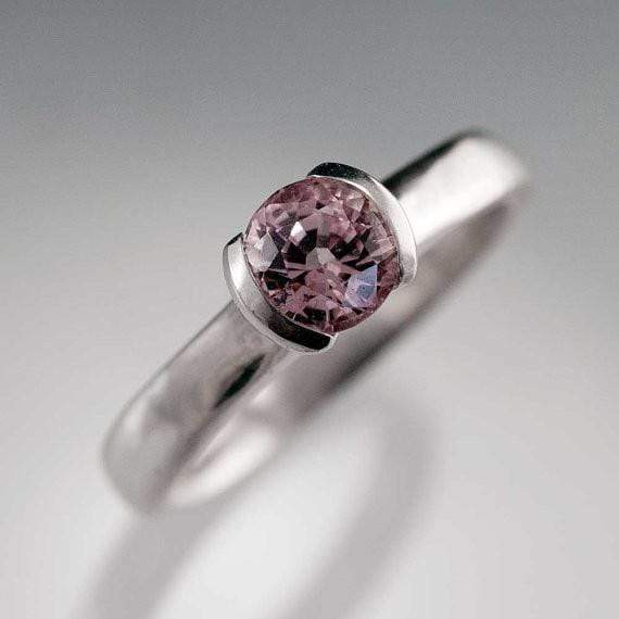 Light Pink Spinel Half Bezel Solitaire Engagement Ring in Continuum Sterling Silver, size 5 to 7.5