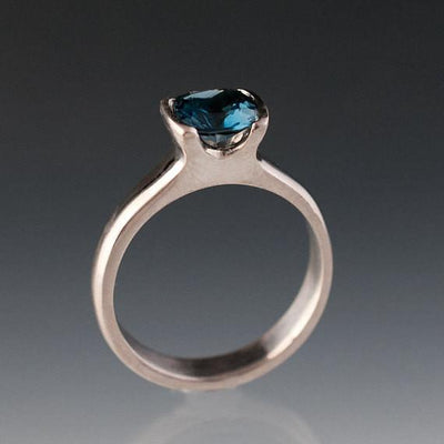 Cushion London or Swiss Blue Topaz Half Bezel Statement Ring - by Nodeform