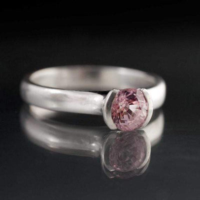 Light Pink Spinel Half Bezel Solitaire Engagement Ring in Continuum Sterling Silver, size 5 to 7.5 - by Nodeform